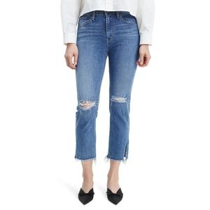 Levi's Ripped High Waist Raw Edge Crop Jeans